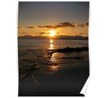 Sunset over the waves Poster