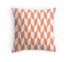 Coral Thick Offset Chevrons Throw Pillow