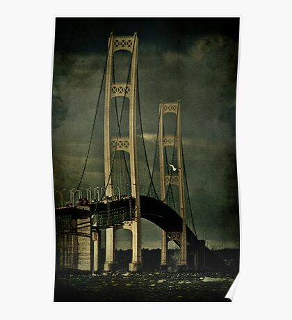 Fall Storms at the Mackinac Bridge Poster