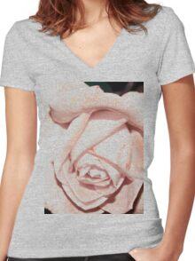 Light macro rose tee Women's Fitted V-Neck T-Shirt