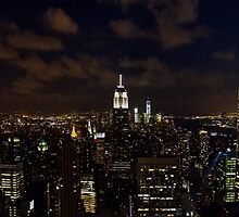 Empire State Panorama at Night by Mike Garner