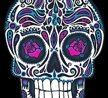 Calavera IV Sugar Skull Neon by wottoart