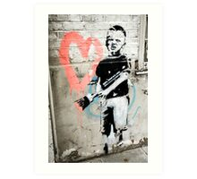 Banksy Boy with Painted Heart Art Print