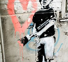 Banksy Boy with Painted Heart by ManwithaCamera