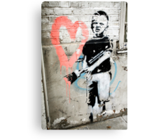 Banksy Boy with Painted Heart Canvas Print