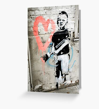 Banksy Boy with Painted Heart Greeting Card