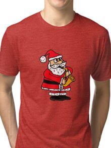 Cool Funny Santa Claus Playing Saxophone Tri-blend T-Shirt