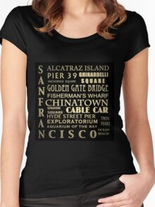 San Francisco Famous Landmarks Women's Fitted Scoop T-Shirt