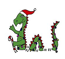 Funny Cool Loch Ness Monster in Christmas Lights Photographic Print