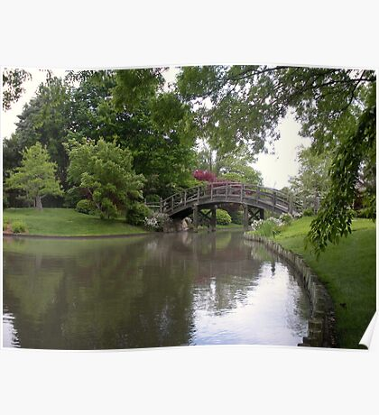 View of a Japanese Garden through the Trees Poster