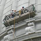 Working on the Capitol dome by Martha Sherman