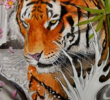 Tiger and waterfall Sticker