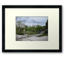 Japanese Designed Garden with Bridge and Sculpture Framed Print