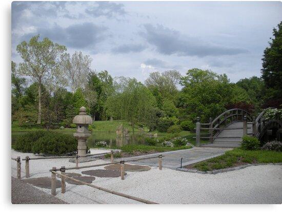 Japanese Designed Garden with Bridge and Sculpture by Paula Betz