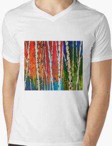 Painted Autumn Birch Trees Mens V-Neck T-Shirt