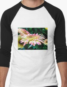 Breast Cancer Awareness Gerber Daisy Men's Baseball ¾ T-Shirt