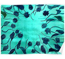 Blue abstract,floral, watercolor Poster