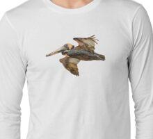 Brown Pelican Flight with Vintage Burgundy Stripe (California Bird) Long Sleeve T-Shirt