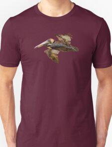 Brown Pelican Flight with Vintage Burgundy Stripe (California Bird) Unisex T-Shirt