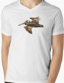 Brown Pelican Flight with Vintage Burgundy Stripe (California Bird) Mens V-Neck T-Shirt