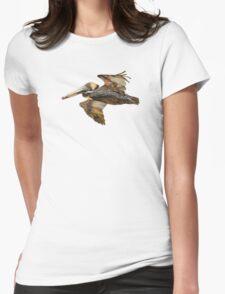 Brown Pelican Flight with Vintage Burgundy Stripe (California Bird) T-Shirt
