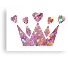 Pretty Pastel Glitter Queen of Hearts Canvas Print
