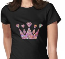 Pretty Pastel Glitter Queen of Hearts Womens Fitted T-Shirt