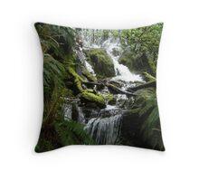 waterfall and greenery Throw Pillow