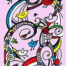 Birds Doodle Case Pink by rhiannon85