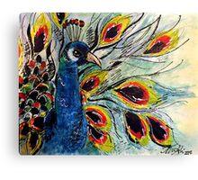 Oil/Acrylic Peacock Canvas Print