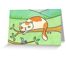 Ginger and White Cat Watching Bird Greeting Card