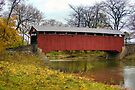 Sam Wagner Covered Bridge In Autumn by Gene Walls