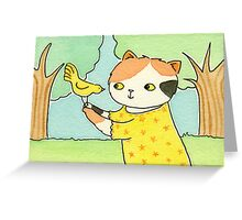 Calico Cat with a Yellow Bird Greeting Card