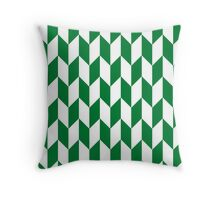 Green Thick Offset Chevrons Throw Pillow