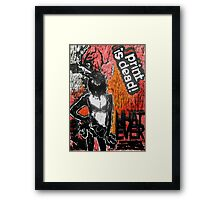 "'WHATEVER"" Woodcut Digital Print Framed Print"