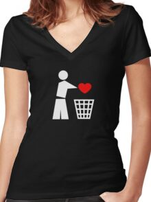 Bin your heart white - red heart Women's Fitted V-Neck T-Shirt
