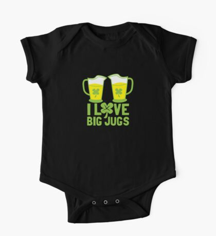 I love BIG JUGS green shamrocks St Patricks day beer jugs One Piece - Short Sleeve