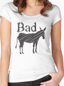 BAD ASS donkey funny design Women's Fitted Scoop T-Shirt