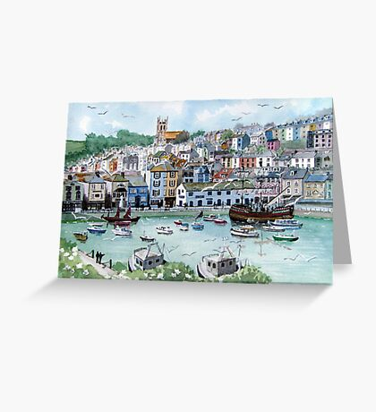 """In with the Catch"" - Brixham, Devon Greeting Card"