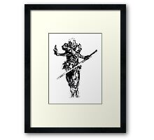 Grey fox draw from metal gear solid Framed Print