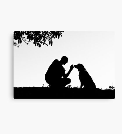 The man and his dog Canvas Print