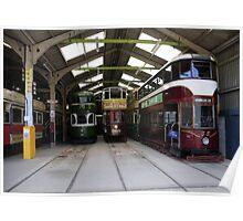 Restored trams in garage Poster