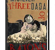 Dada Tarot- Three of Batons by Peter Simpson
