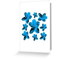 Blue tropical flowers on white floral texture. Greeting Card