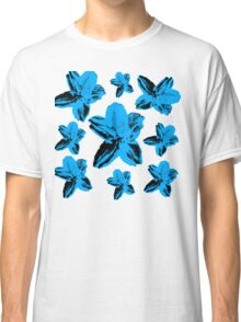 Blue tropical flowers on white floral texture. Classic T-Shirt