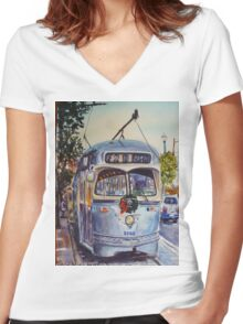 San Francisco at Christmas Women's Fitted V-Neck T-Shirt