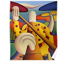 Polka fiddle player in softscape Poster