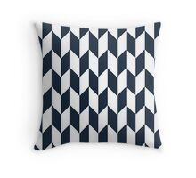 Navy Thick Offset Chevrons Throw Pillow