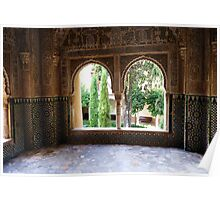 Arched Windows, Alhambra Palace, Granada, Spain  Poster