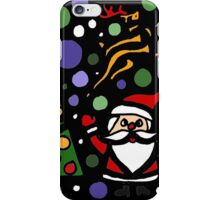 Colorful Santa and Penguin and Tree and Stars Abstract iPhone Case/Skin